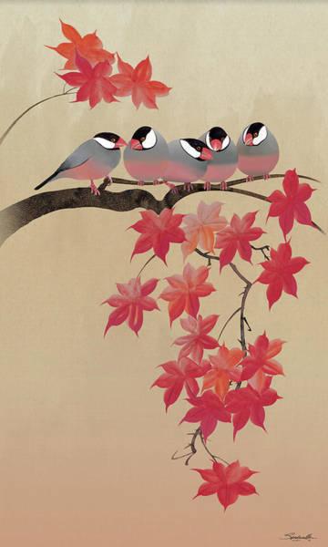Digital Art - Java Sparrows In Japanese Maple Tree by M Spadecaller