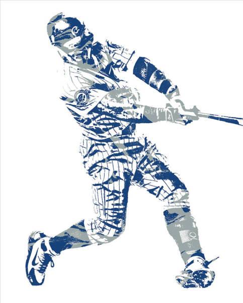 Wall Art - Mixed Media - Javier Baez Chicago Cubs Pixel Art 11 by Joe Hamilton