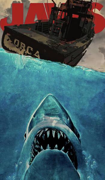 Wallpaper Mixed Media - Jaws, Movie Poster by Thomas Pollart