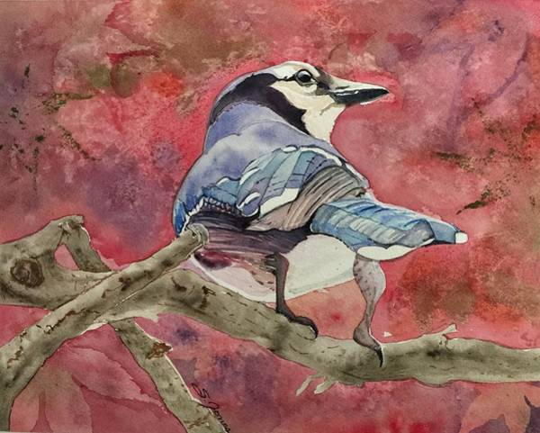 Painting - Jay In The Japanese Maple by Sonja Jones