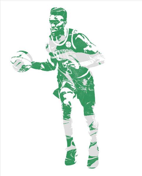 Wall Art - Mixed Media - Jaylen Brown Boston Celtics Pixel Art 30 by Joe Hamilton