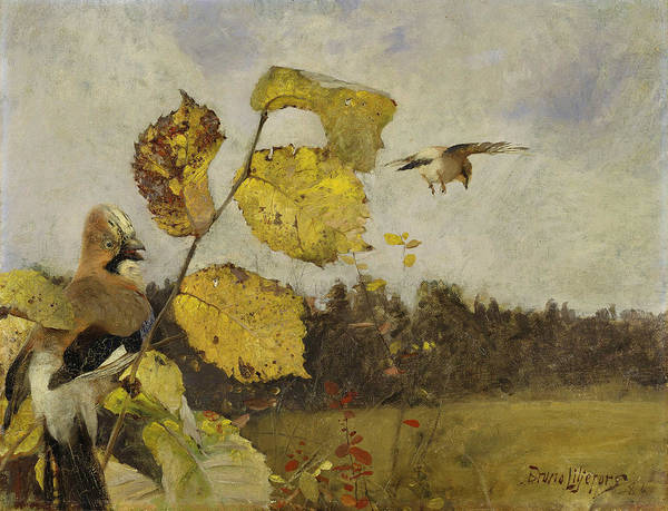 Swedish Painters Wall Art - Painting - Jays by Bruno Liljefors