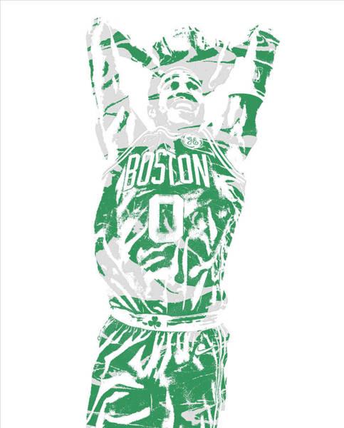 Wall Art - Mixed Media - Jayson Tatum Boston Celtics Pixel Art 12 by Joe Hamilton