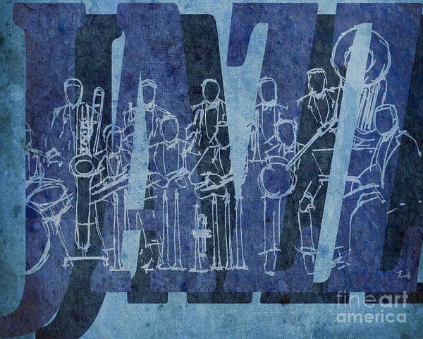Trumpet Mixed Media - Jazz 30 Orchestra Blue by Drawspots Illustrations