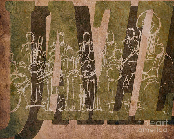 Trumpet Mixed Media - Jazz 30 Orchestra Brown by Drawspots Illustrations