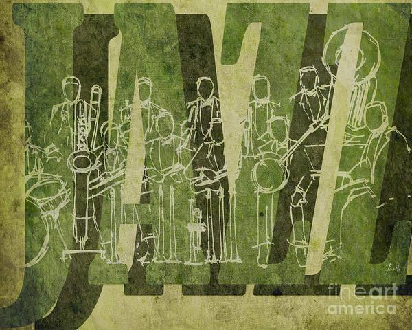 Trumpet Mixed Media - Jazz 30 Orchestra Green by Drawspots Illustrations