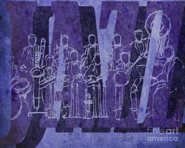 Trumpet Mixed Media - Jazz 30 Orchestra Purple by Drawspots Illustrations
