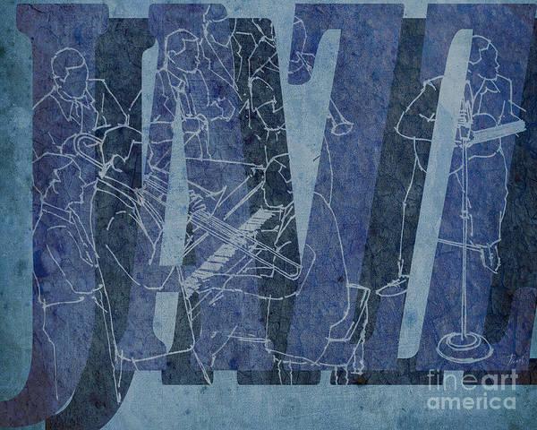 Wall Art - Drawing - Jazz 34 Duke Ellington Blue by Drawspots Illustrations
