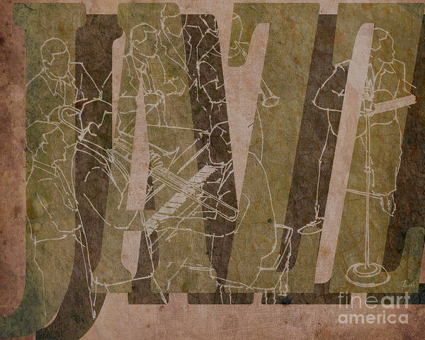 Trumpet Mixed Media - Jazz 34 Duke Ellington - Brown by Drawspots Illustrations