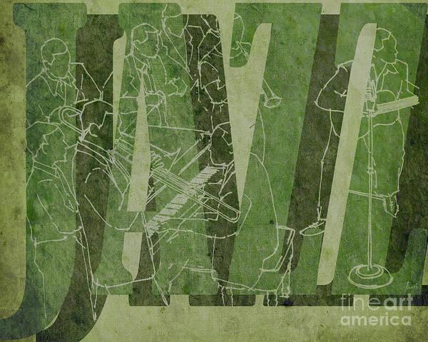 Wall Art - Drawing - Jazz 34 Duke Ellington - Green by Drawspots Illustrations