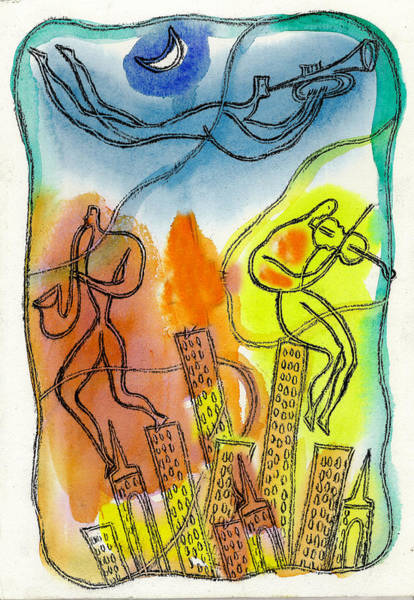 Wall Art - Painting - Jazz And The City 3 by Leon Zernitsky