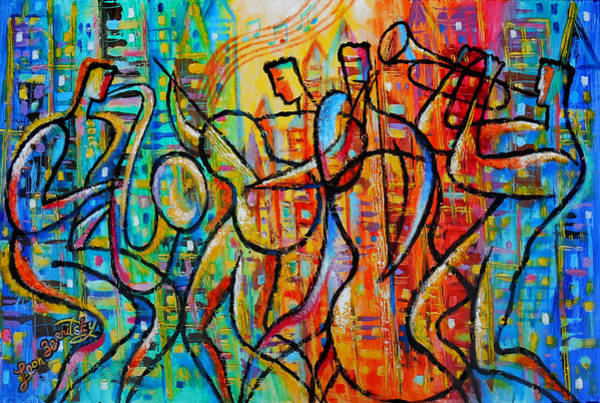Wall Art - Painting - Jazz And The City by Leon Zernitsky