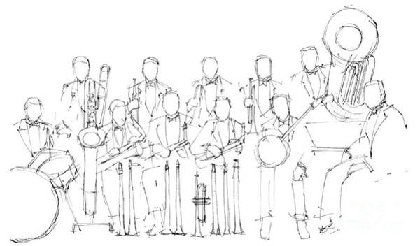 Wall Art - Painting - Jazz Band by Drawspots Illustrations