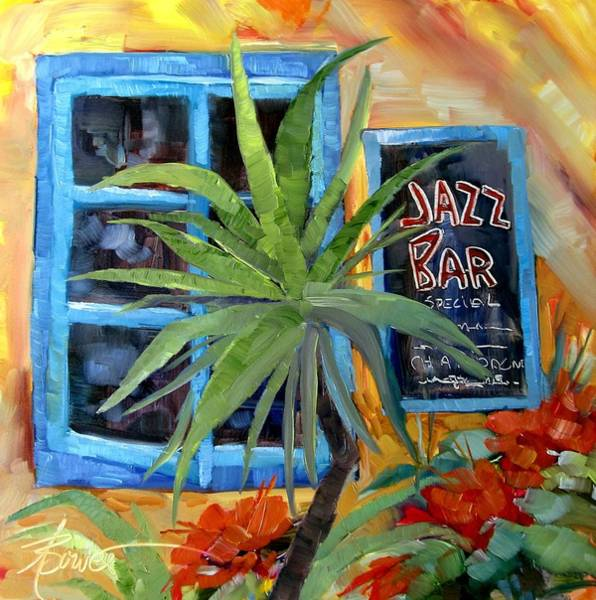 Painting - Jazz Bar In Santorini by Adele Bower