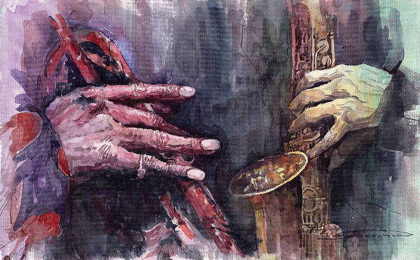 Improvisations Wall Art - Painting - Jazz Batle Of Improvisation by Yuriy Shevchuk