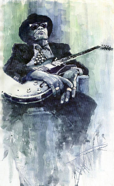 Guitarist Wall Art - Painting - Jazz Bluesman John Lee Hooker 04 by Yuriy Shevchuk