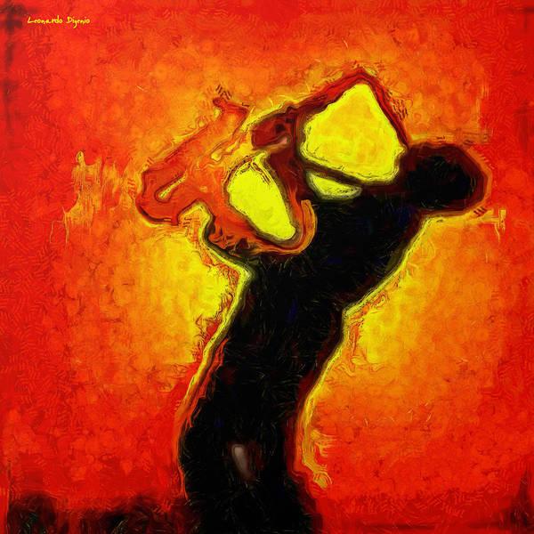 Sax Painting - Jazz Festival Orange - Pa by Leonardo Digenio