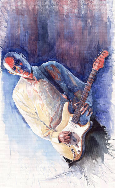 Figurativ Wall Art - Painting - Jazz Guitarist Rene Trossman by Yuriy Shevchuk