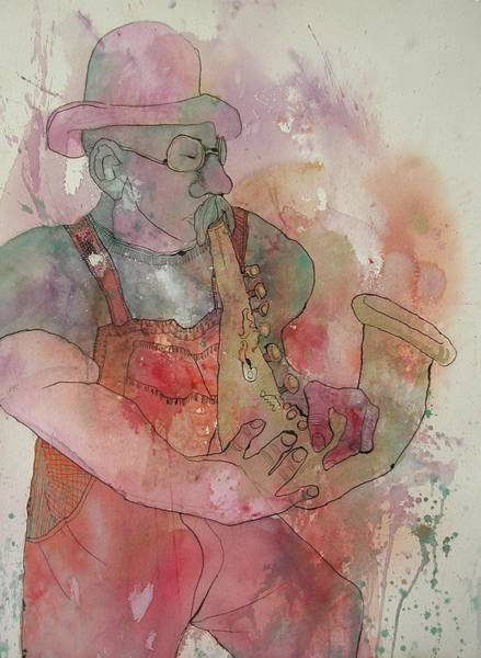 Sax Painting - Jazz Man by Wendy Hill