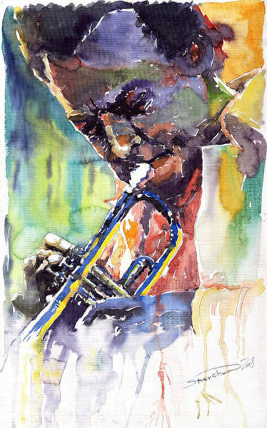 Wall Art - Painting - Jazz Miles Davis 9 Blue by Yuriy Shevchuk