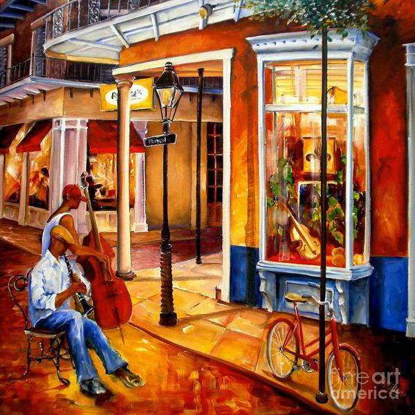 Bass Player Wall Art - Painting - Jazz On Royal Street by Diane Millsap