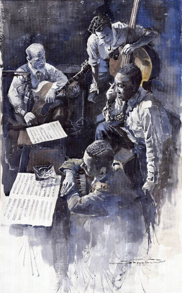 Pianos Painting - Jazz Parker Tristano Bauer Safransky Rca Studio Ny 1949 by Yuriy Shevchuk