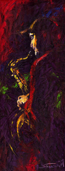 Wall Art - Painting - Jazz Red Saxophonist by Yuriy Shevchuk