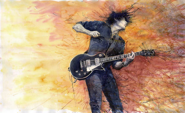 Watercolour Painting - Jazz Rock Guitarist Stone Temple Pilots by Yuriy Shevchuk