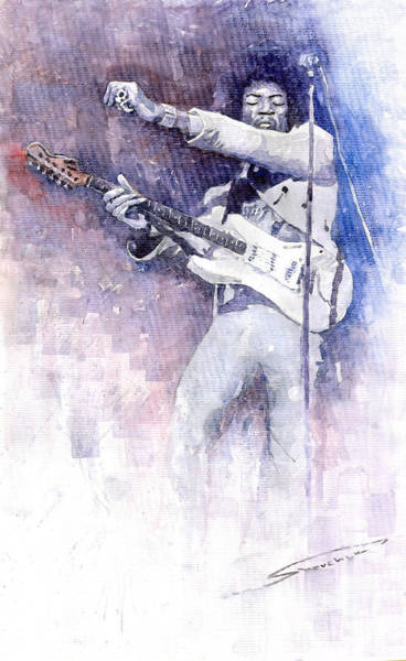 Wall Art - Painting - Jazz Rock Jimi Hendrix 07 by Yuriy Shevchuk