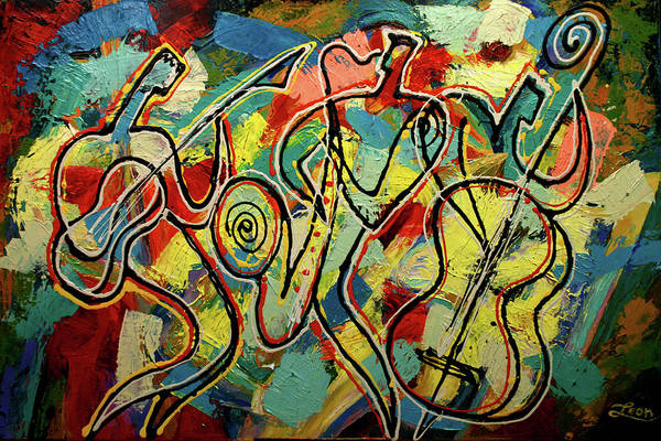 Wall Art - Painting - Jazz Rock by Leon Zernitsky