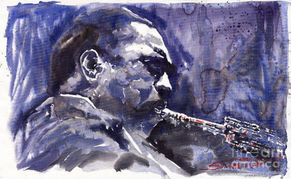 Wall Art - Painting - Jazz Saxophonist John Coltrane 01 by Yuriy Shevchuk