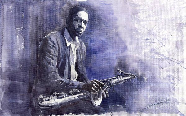 Figurative Wall Art - Painting - Jazz Saxophonist John Coltrane 03 by Yuriy Shevchuk