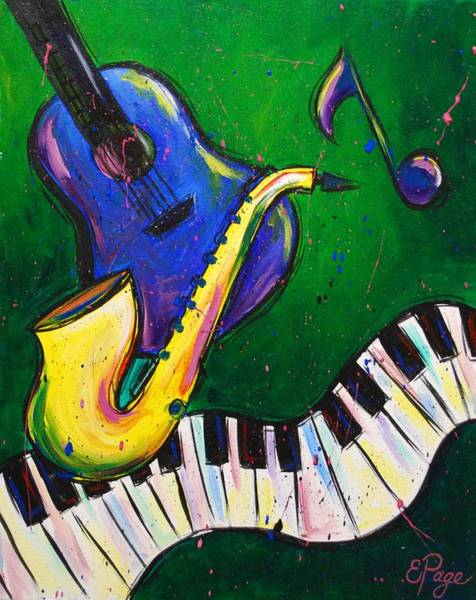 Sax Painting - Jazz Time by Emily Page