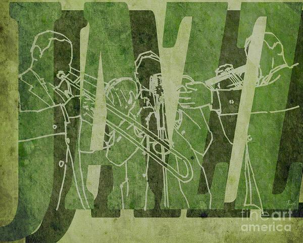 Trumpet Mixed Media - Jazz Trio 33 - Green by Drawspots Illustrations