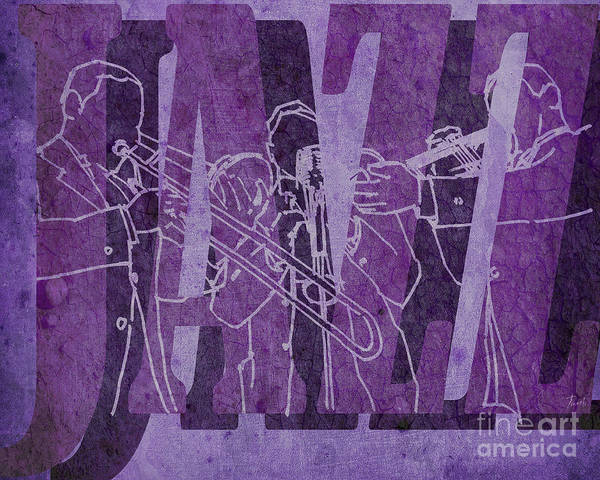 Trumpet Mixed Media - Jazz Trio 33 - Purple by Drawspots Illustrations