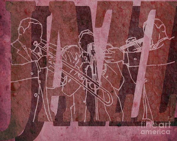Trumpet Mixed Media - Jazz Trio 33 - Red by Drawspots Illustrations