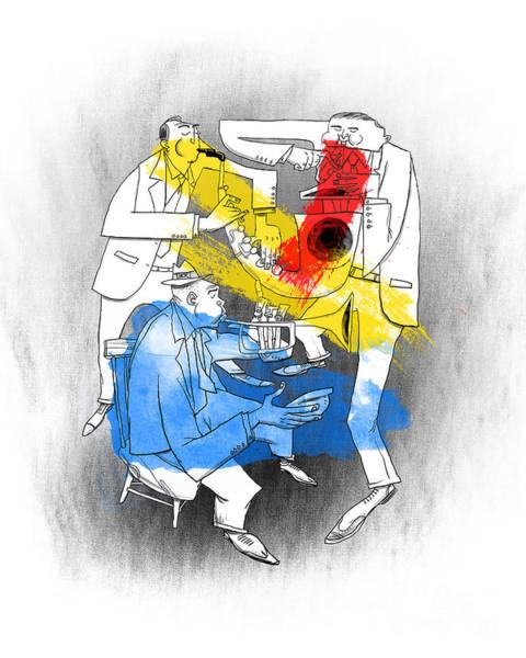 Yellow Trumpet Wall Art - Painting - Jazz Trio by Sean Hagan