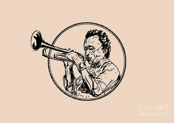 Hard Bop Wall Art - Digital Art - Jazz Trumpet Player Loose Portrait by Idan Badishi