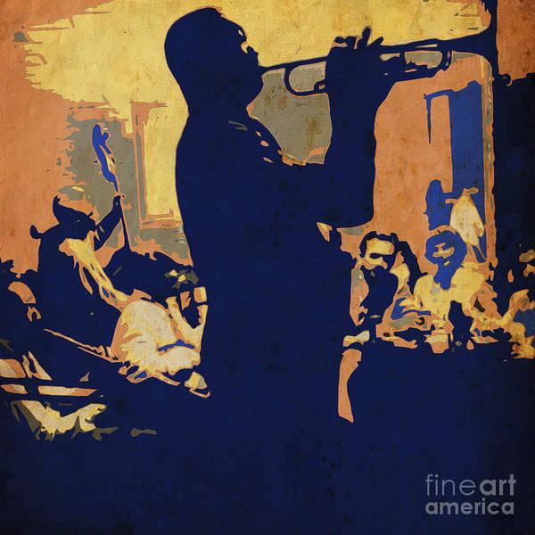 Wall Art - Drawing - Jazz Trumpet Player by Drawspots Illustrations