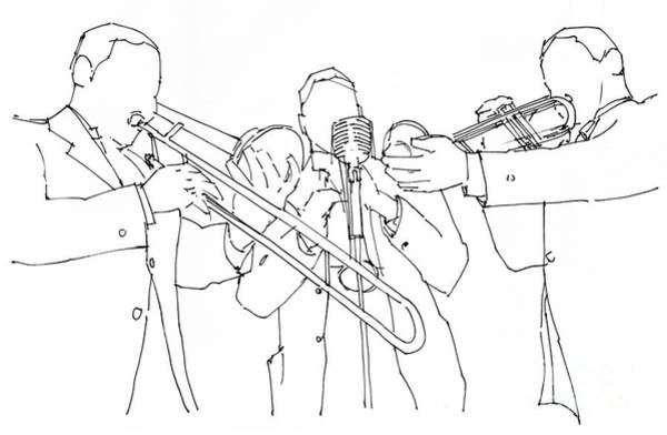 Wind Drawing - Jazz Wind Section, Ink Portrait by Drawspots Illustrations