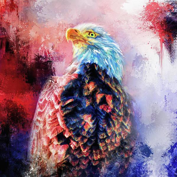 Mixed Media - Jazzy Bald Eagle Colorful Bird Art By Jai Johnson by Jai Johnson