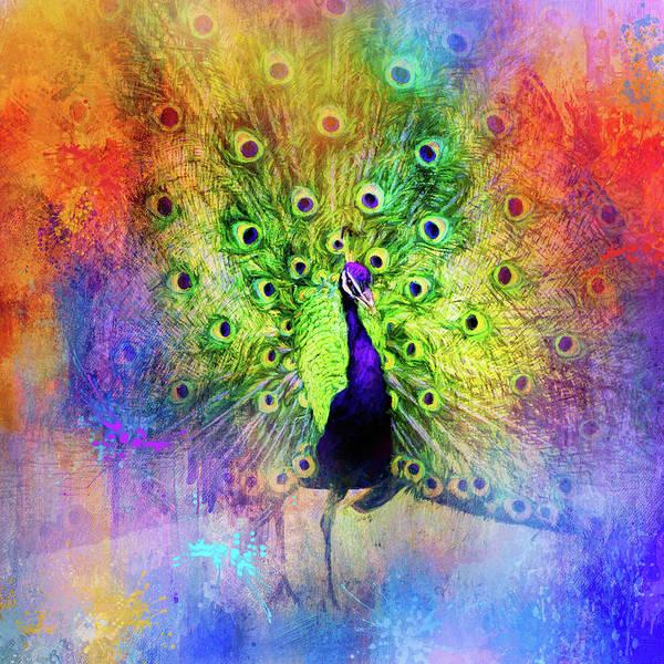 Mixed Media - Jazzy Peacock Colorful Bird Art By Jai Johnson by Jai Johnson