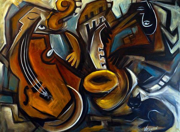 Sax Painting - Black Cat Jazzz by Valerie Vescovi