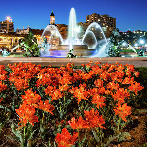 Photograph - Jc Nichols Fountain In Spring - Square Format  by Gregory Ballos