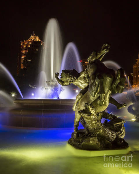 Country Club Plaza Photograph - J.c. Nichols Fountain In The Evening 2 by Dennis Hedberg