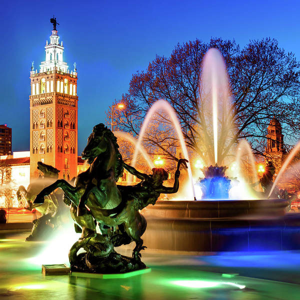 Photograph - J.c. Nichols Fountain Statues - The Kansas City Plaza by Gregory Ballos