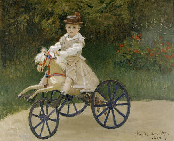 Painting - Jean Monet On His Hobby Horse by Claude Monet