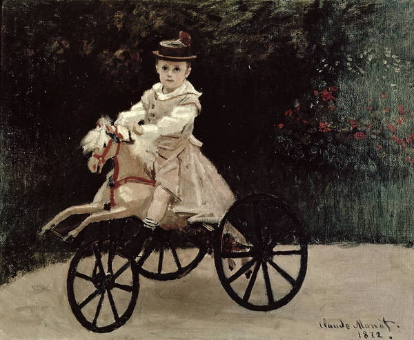 Hobby Painting - Jean Monet On His Hobby Horse by Claude Monet