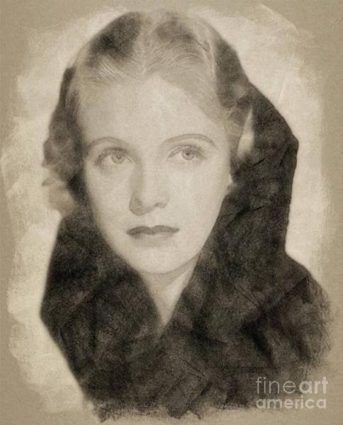 Pinewood Drawing - Jean Muir, Vintage Actress By John Springfield by John Springfield
