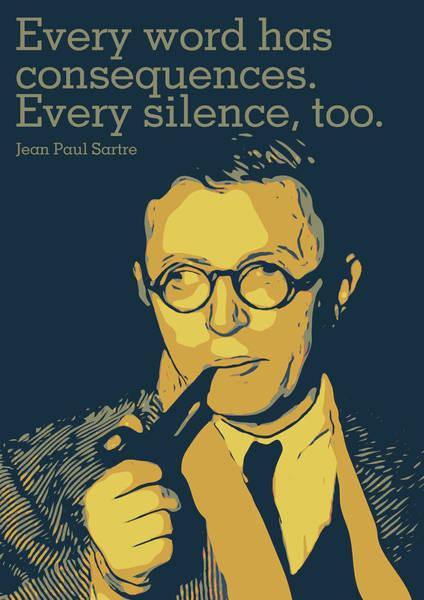 Nobel Wall Art - Digital Art - Jean Paul Sartre by Greatom London